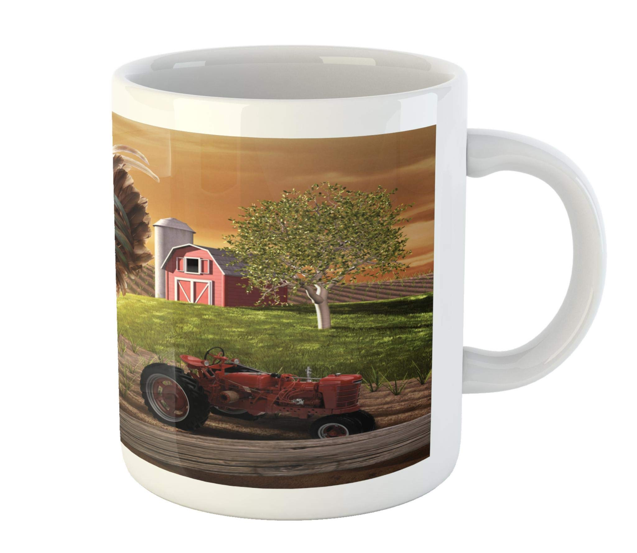 Lunarable Country Mug by, Farm Barn Yard Image with Rooster Animal Early Bird Nature and Rising Sun Print, Printed Ceramic Coffee Mug Water Tea Drinks Cup, Pale Brown Red