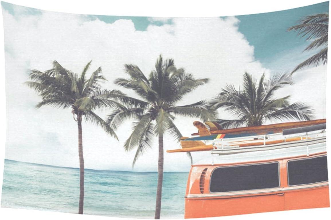INTERESTPRINT Season Summer Home Decor Tapestries Wall Art, Ocean Beach Palm Tree Bus Tapestry Wall Hanging Art Sets 60 X 40 Inches