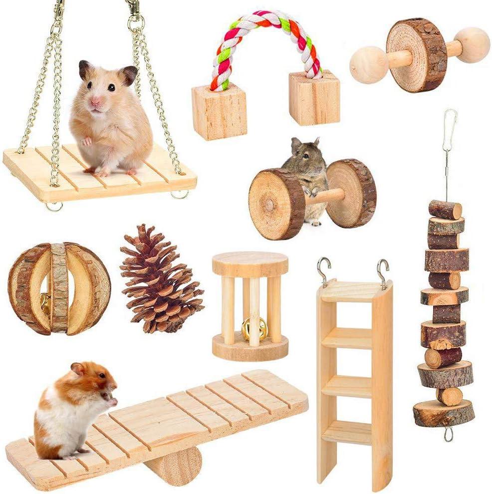 Amasawa 10 Piezas Juguetes para Masticar Hámster,Juguete para el Cuidado de los Dientes con Ruedas,Adecuado para Hámsteres, Conejos y Loros para Jugar con Juguetes Molares