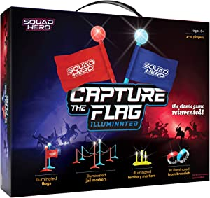 Light-up Capture The Flag Game Illuminated - Glow in The Dark Fun Outdoor Sports Game for Family, Birthday Parties & Youth Teams - Flag Football Set - Gifts for Boys & Girls - Teens and Kids Gift