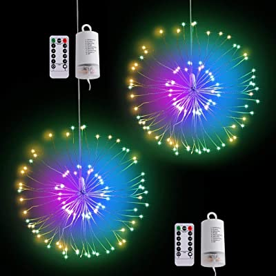 2Pack String Lights Fireworks Starburst 100 LED 8 Modes Dimmable Starry Fairy Lights Remote Control with Timer, Decorative Copper Hanging Wire Bouquet Chandeliers Battery Operated Light Colorful : Garden & Outdoor