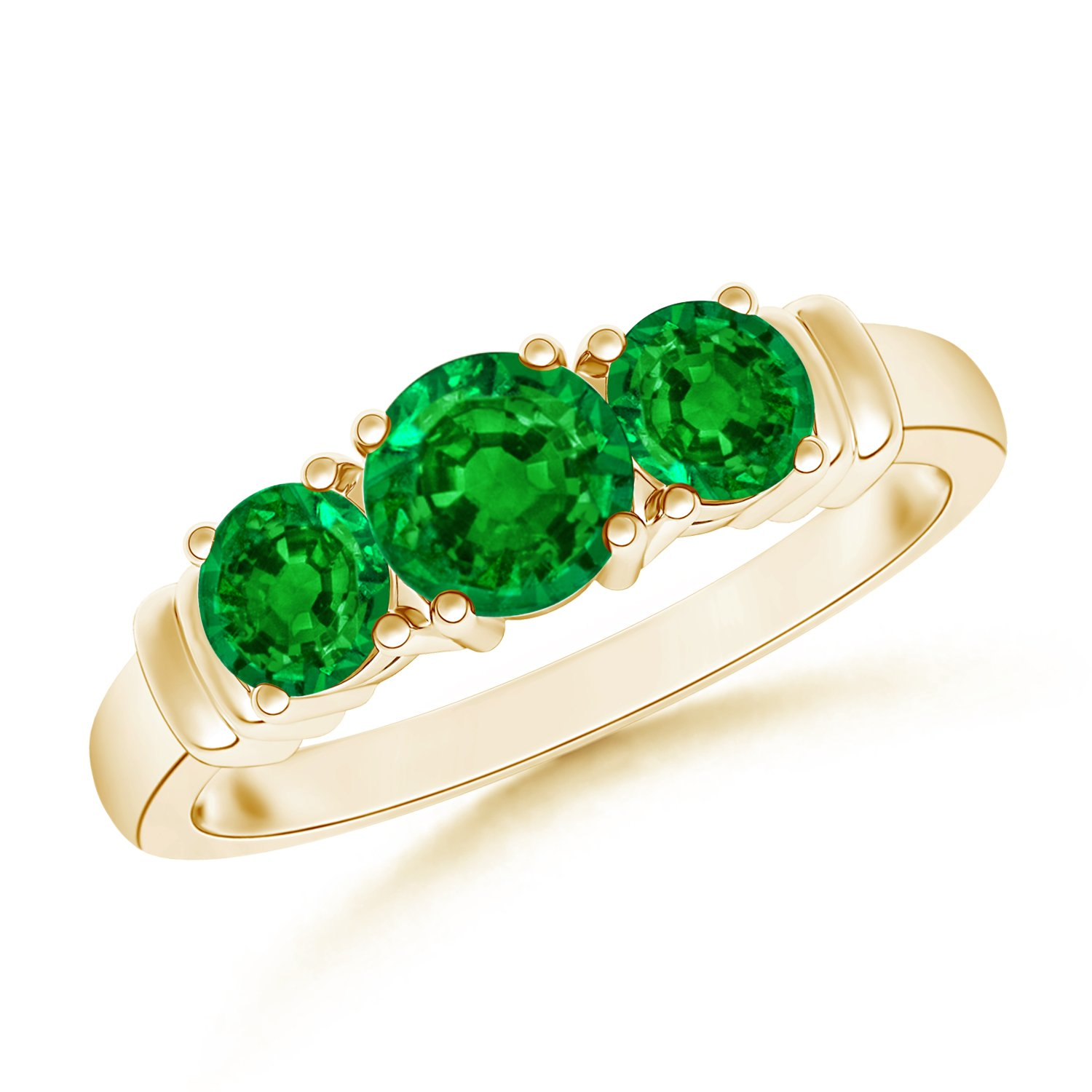 May Birthstone - Vintage Style Three Stone Emerald Wedding Ring for Women in 14K Yellow Gold (5mm Emerald)