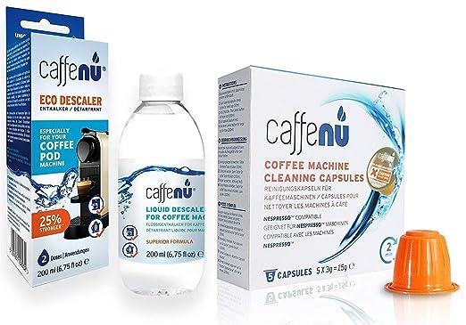Caffe Nu Liquid Descaler 200ml Cleaning Capsules 5 Capsules Deep Clean Your Nespresso Coffee Machine