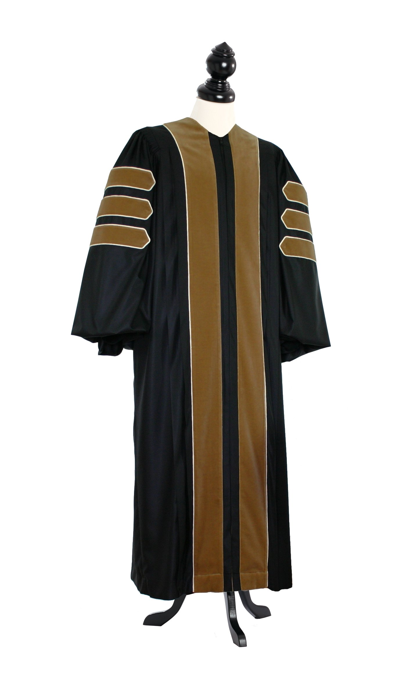TIMELESS Women Deluxe Doctoral of Fine Arts, Architecture Academic Gown for faculty and Phd. silver wool Custom Size Black