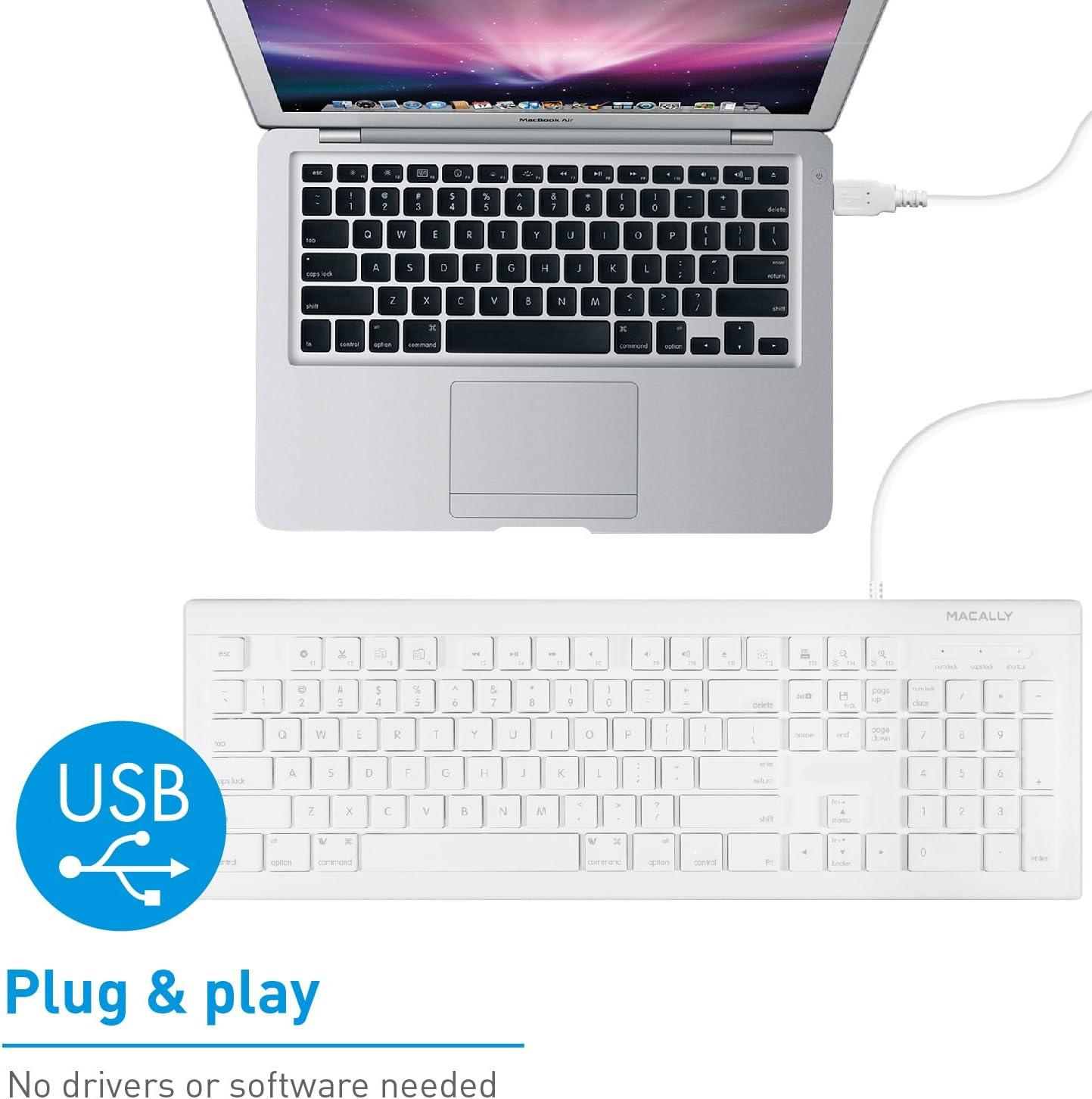 Macally MKEYE - Teclado (USB, Inglés, PC/Server, Estándar, Derecho, Color Blanco)