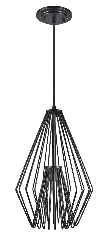 Black 1 Light - 12  Wide Aspen Creative 61081-1 Metal Wired Mini Pendant in Black Finish, 1 Light-12 Wide