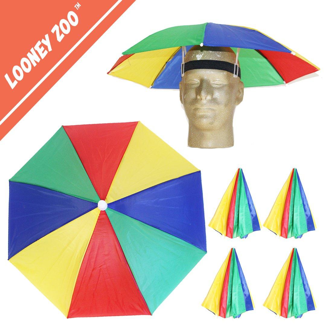Looney Zoo Funbrella Hats - Colorful Umbrella Hat - Tie Dye Tropical Pizza Patriotic -Rain Sun Cover, Elastic Fit for Adults & Kids (The Rad Rainbow, 4 Umbrella Hats)