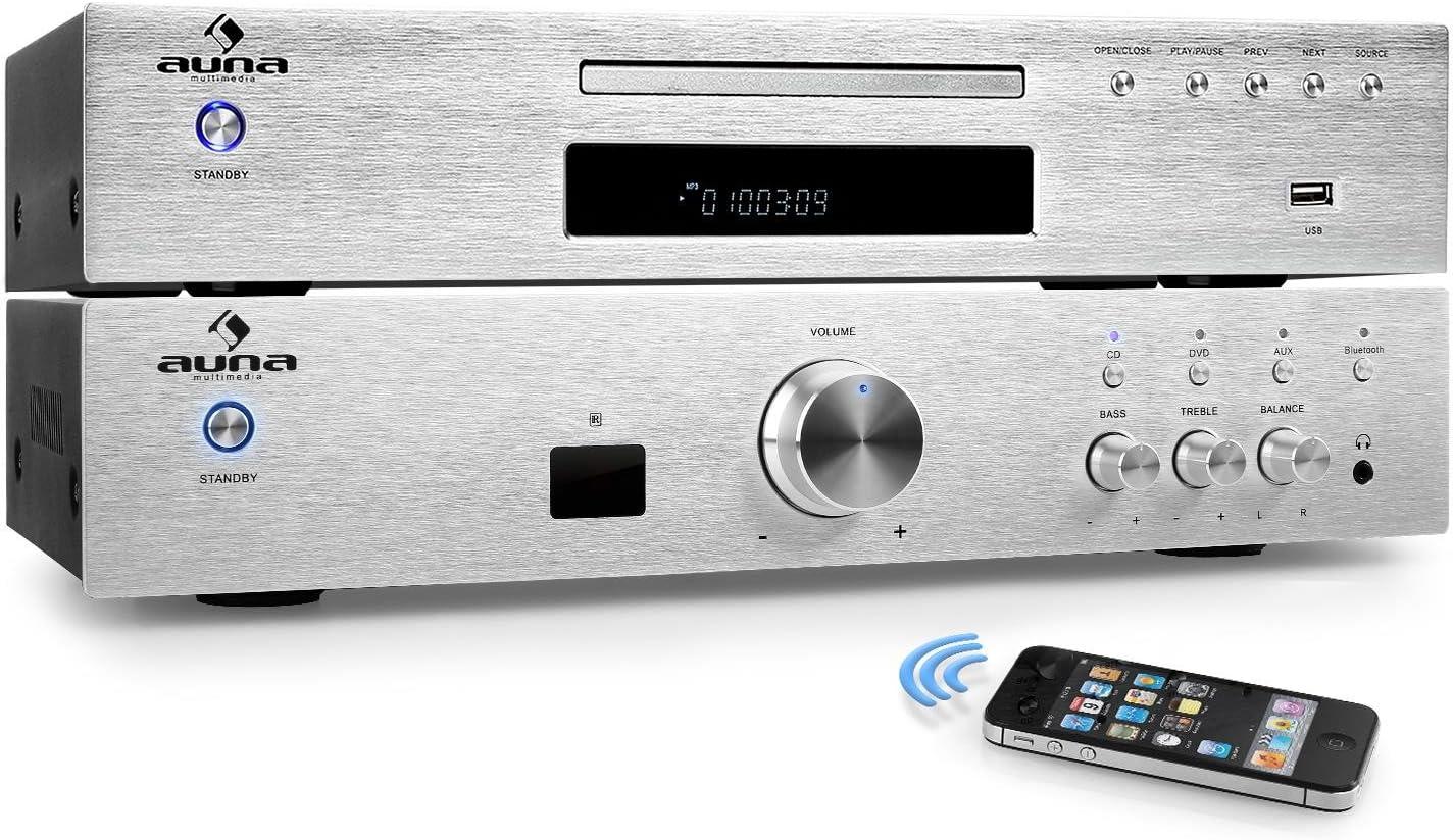 auna Elegance Tower Bluetooth Set Hi-Fi 2.0 (Amplificador estéreo 600W, Home Cinema, Reproductor CD Mp3, Radio, AUX, Acero Inoxidable Pulido)