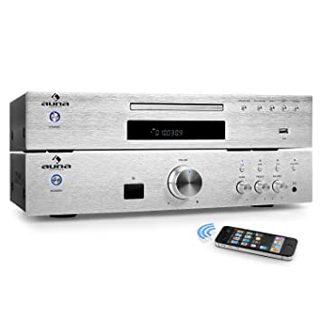 auna Elegance Tower Bluetooth Set Hi-Fi 2.0 (Amplificador estéreo 600W, Home Cinema, Reproductor CD Mp3, Radio, AUX, Acero Inoxidable Pulido)