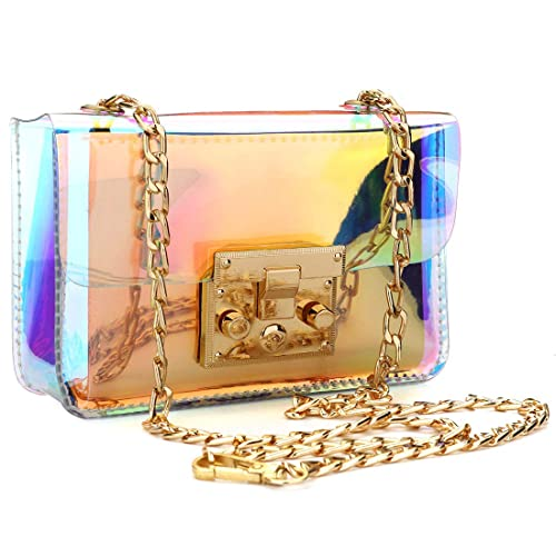 4717e0657a Womens Transparent Sling bag Laser Hologram Shining Cross Body bag Clear  Beach Waterproof Swimming Purse (
