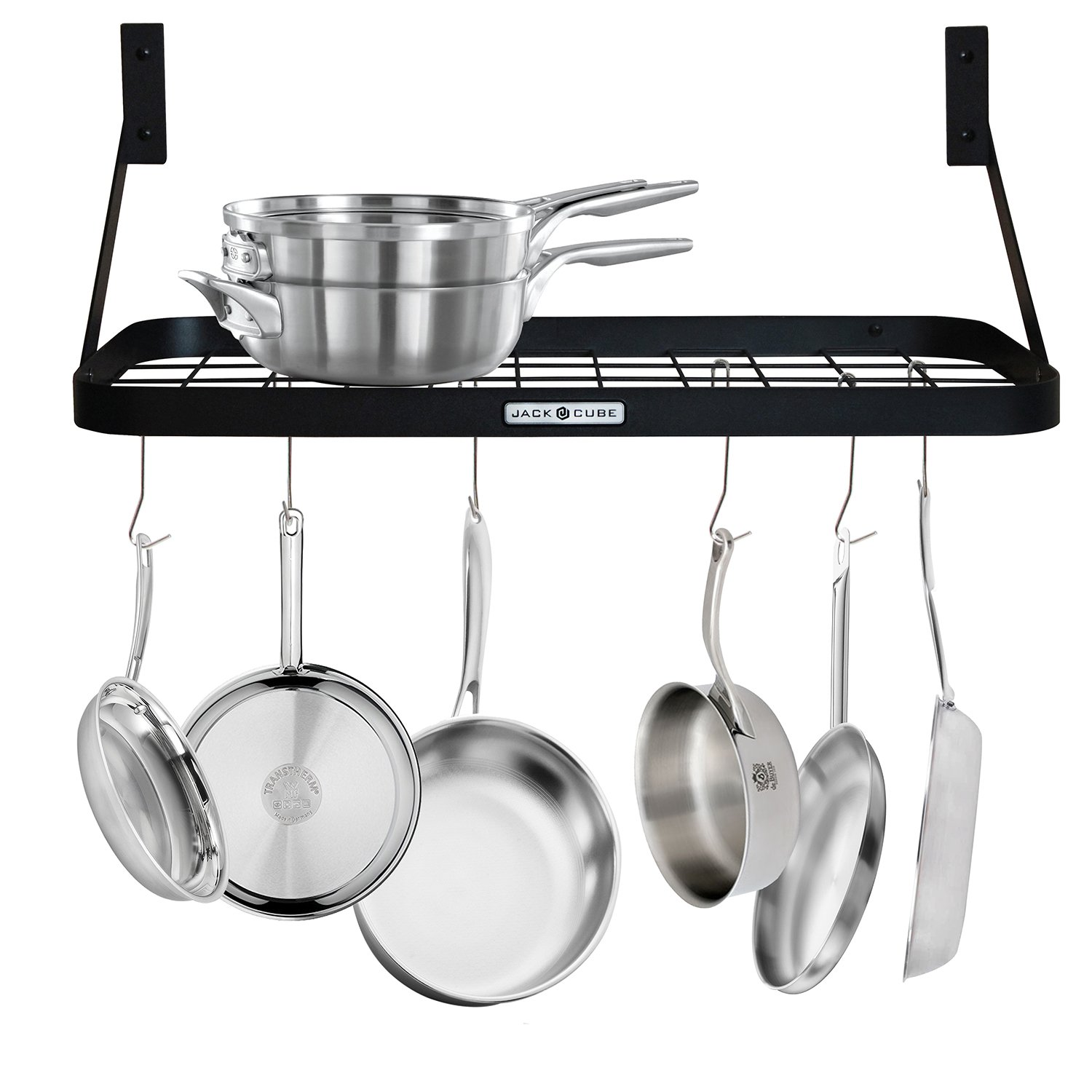 JackCubeDesign Wall Mount Grid Pot Pan Rack Hanger Organizer Kitchen Storage Shelf Tray Holder with Utility 8 Hooks(24.4 x 11.8 x 1.2 inches) – :MK397A