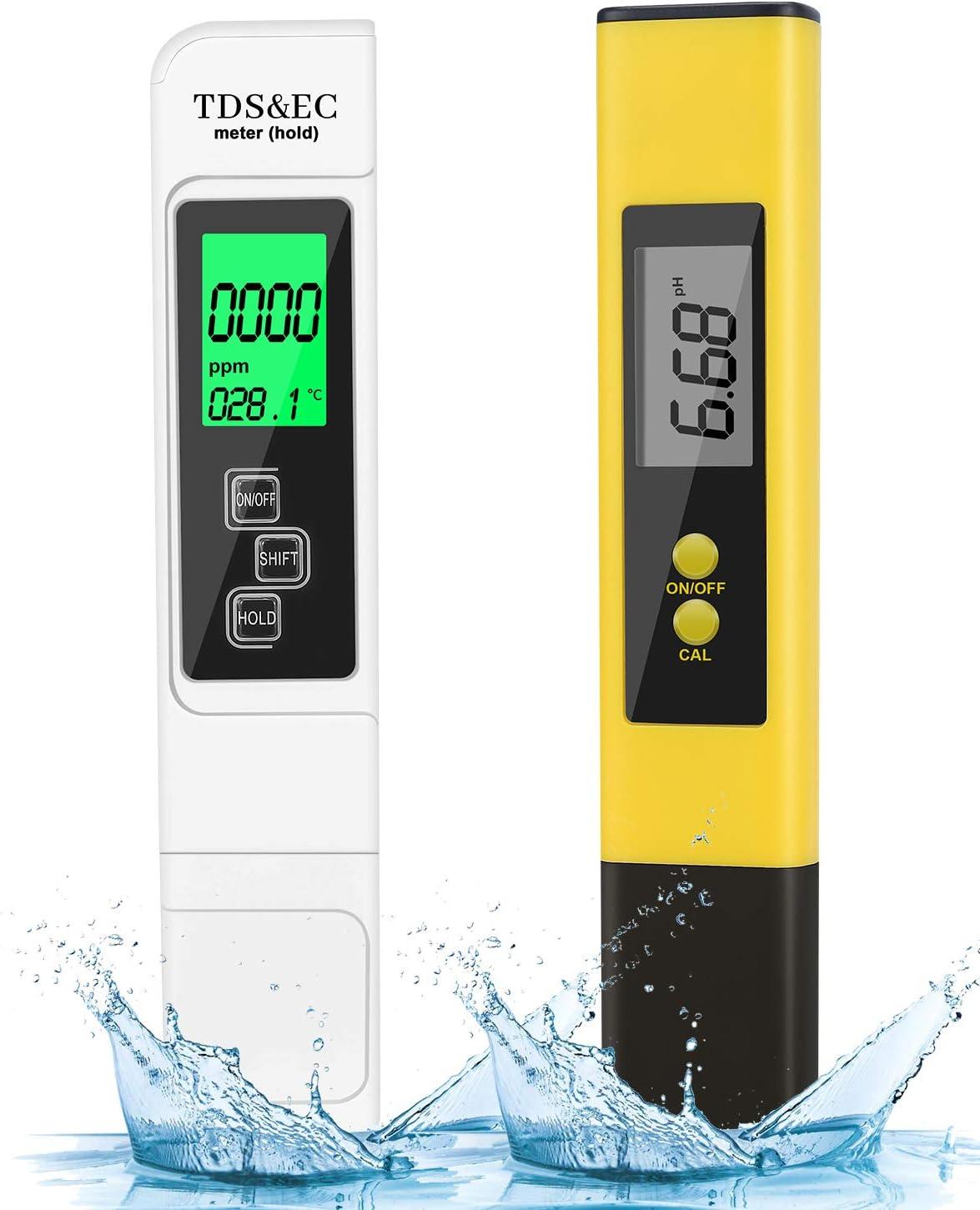 HAUSPROFI pH Messger/ät Digital TDS Messger/ät mit LCD Display TDS EC PH Temperatur 4 in 1 Set Wasserqualit/ät Tester Digitales pH Messger/ät f/ür Trinkwasser Lebensmittel Schwimmb/äder und andere