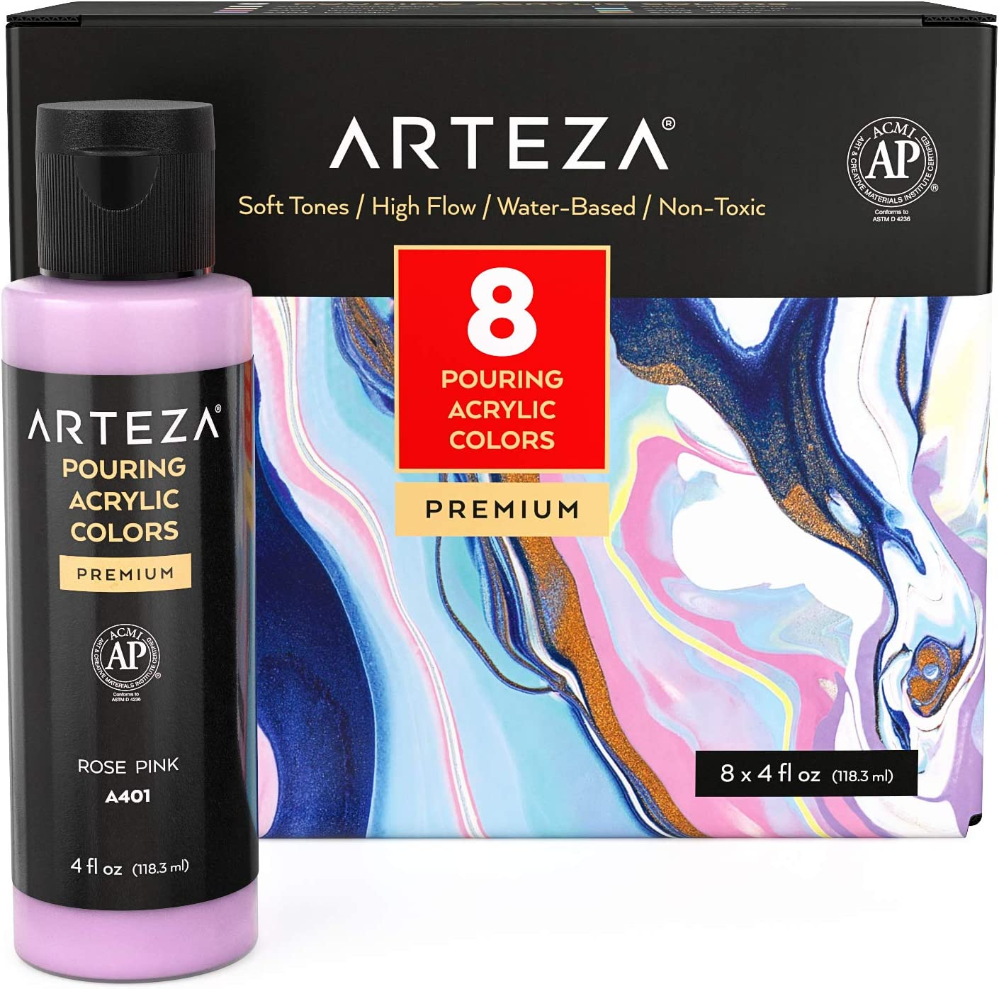 Arteza Acrylic Pouring Paint Set, 4 oz Bottles, Set of 8 Pastel Colors, High-Flow Acrylic Paint, No Mixing Needed, Paint for Pouring on Canvas, Glass, Paper, Wood, Tile and Stones