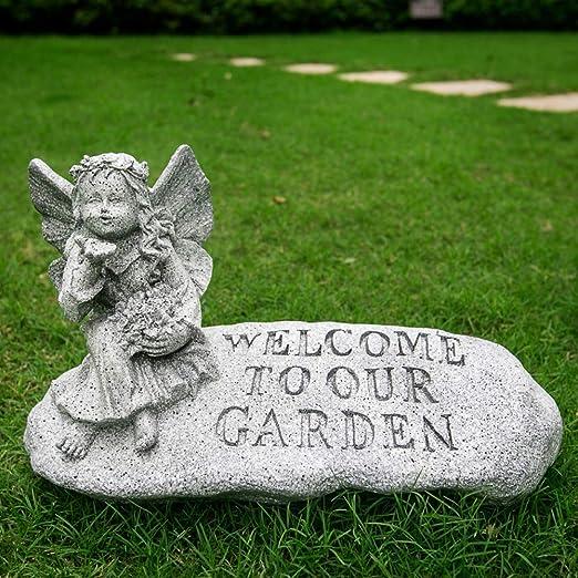 zenggp Adornos De Jardín Resina ángel Biónico Adornos De Piedra Villa Creativa Jardín Patio Escultura Parque Paisaje: Amazon.es: Hogar