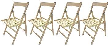 Savino Fiorenzo - Set de 4 sillas plegables de madera natural tipo ...