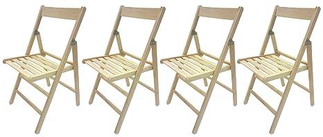 BLEU 4 sedie pieghevole sedia birreria in legno verniciato VARI COLORI richiudibile per campeggio casa e giardino