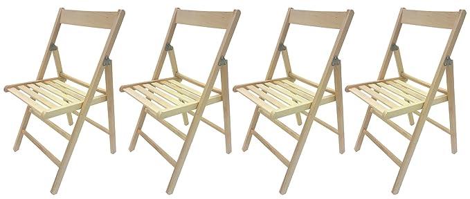 Savino Fiorenzo - Set de 4 sillas plegables de madera ...