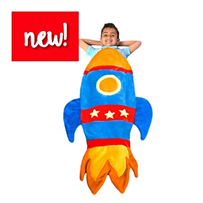 Blankie Tails | Rocket Wearable Blanket - Double Sided Super Soft and Cozy Minky Fleece Blanket, Machine Washable Premium Quality Rocket Fun Blanket for Kids (Blue): Home & Kitchen [5Bkhe0801291]