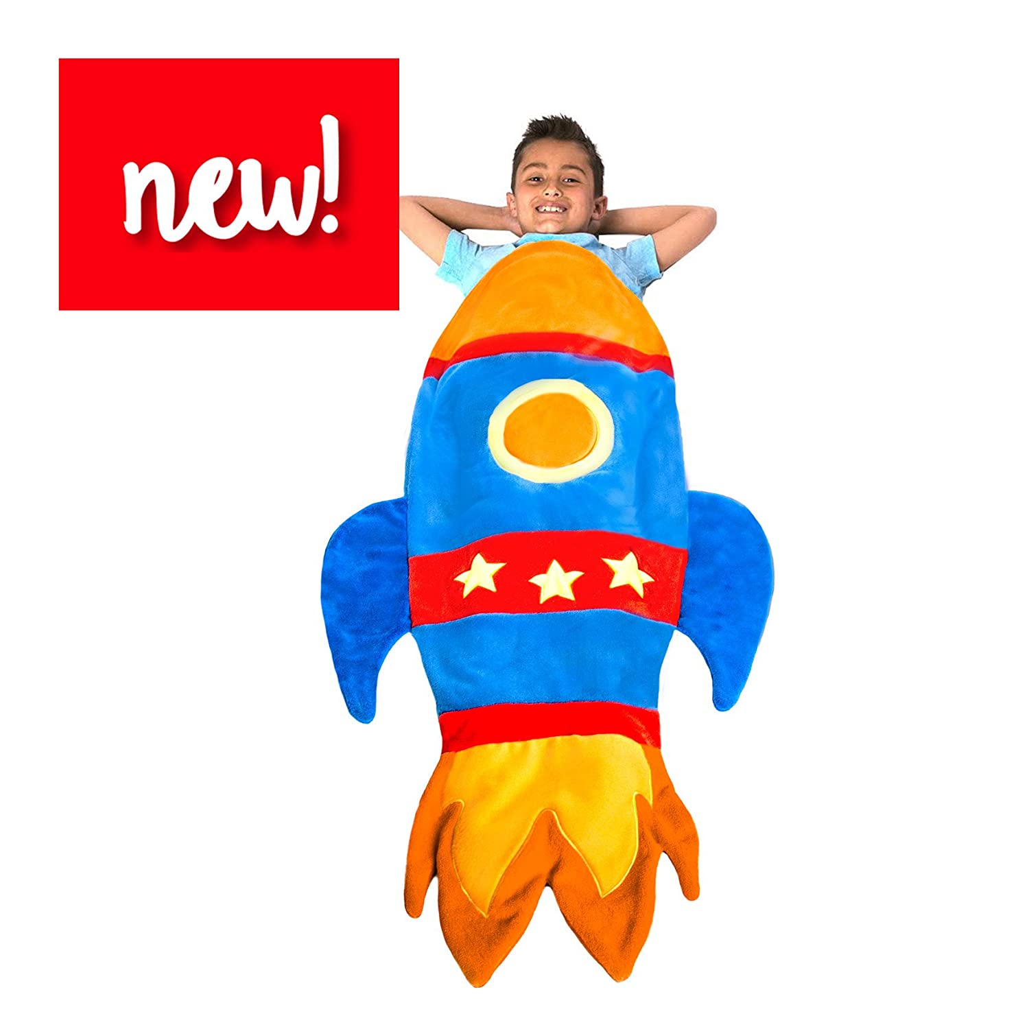 Rocket Blanket Budding Astronauts - Super Fun Design Lets Kids Climb Inside - Premium Quality Rocket Bedding in Blue - Favorite Birthday Gift Kids