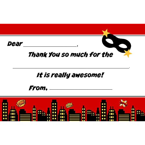Superhero Kids Birthday Fill In Thank You Cards for Boys (10 Count with Envelopes)