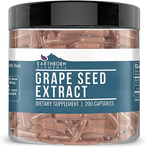 Pure Grape Seed Extract, 400 mg Serving, 200 Serving Bottle, Natural Source Gluten-Free, Non-GMO, No Magnesium or Rice Filler, Made in USA, Satisfaction Guaranteed