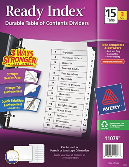 Amazon Avery Ready Index Table Of Contents Dividers 15 Tab 3