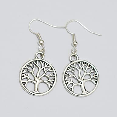 Sterling Silver Tree of Life drop earrings - Size: 13mm 6097 . Antiqued finish (oxidized). Gift Boxed - 6097 B41HN h2TbE