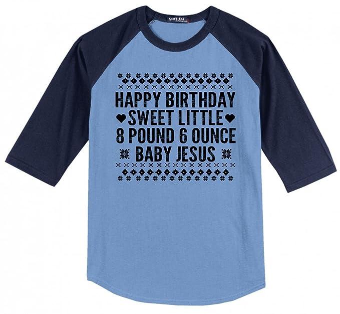 e377875f Comical Shirt Men's Happy Birthday Sweet Baby Jesus Funny Ugly Carolina  Blue/Navy S