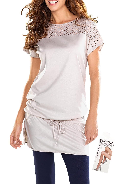 Cybele Damen Longshirt Kleid Hauskleid in Sand 7 Gr. 36 bis 48 Homewear aus Single-Jersey + 1 Paar Feinkniestrümpfe