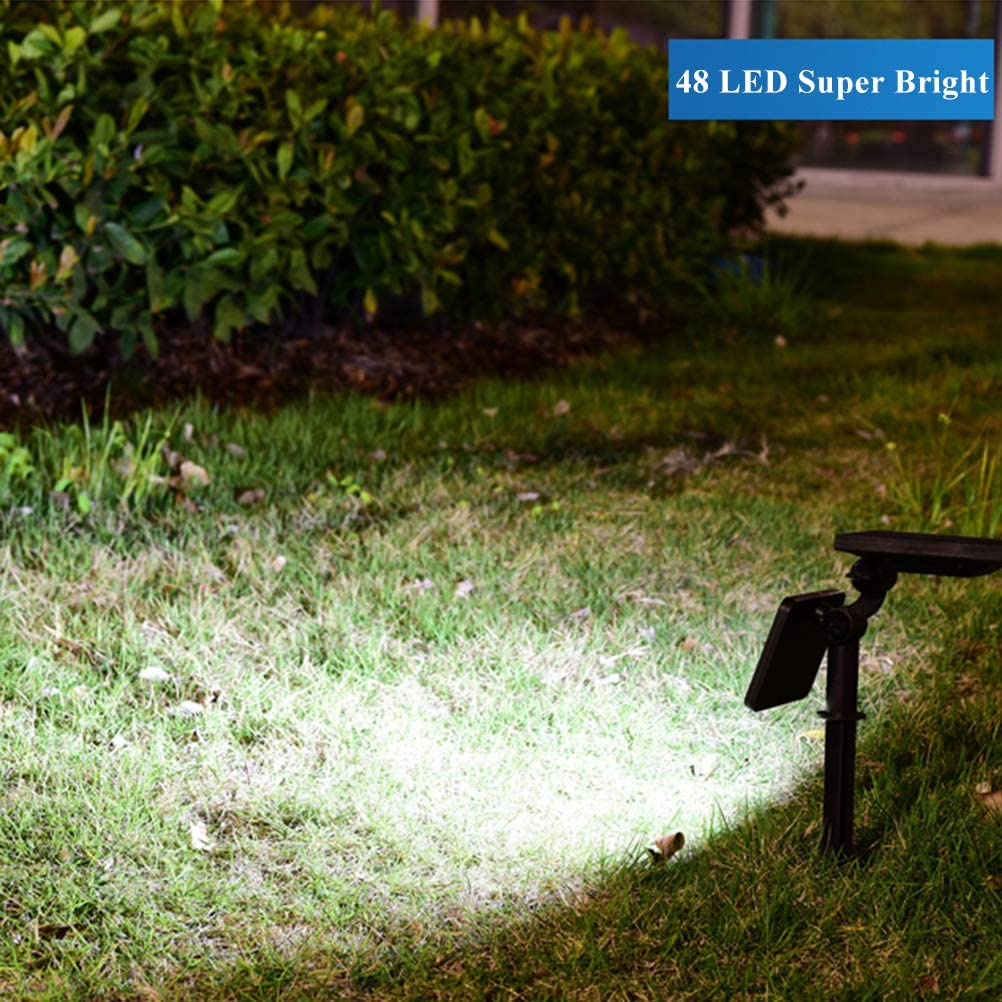KANYEE 2 Pack Solar Lugar Luces 7 LED Al Aire Libre Impermeable Jardín Patio Yarda Entrada de Coches Pared Árbol Césped Paisaje Inalámbrico Spotlight, Tierra/Pared Montado 48 Led 2 Pack