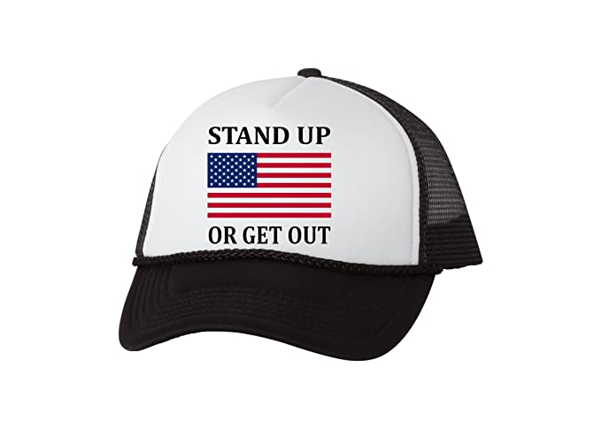 6859e2c639a Amazon.com  Rogue River Tactical Trucker Hat Stand Up Or Get Out Baseball  Cap Retro Vintage Patriotic USA Flag America (Black)  Clothing