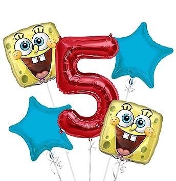 Amazon.com: Bob Esponja cara feliz ramo de globos cumpleaños ...