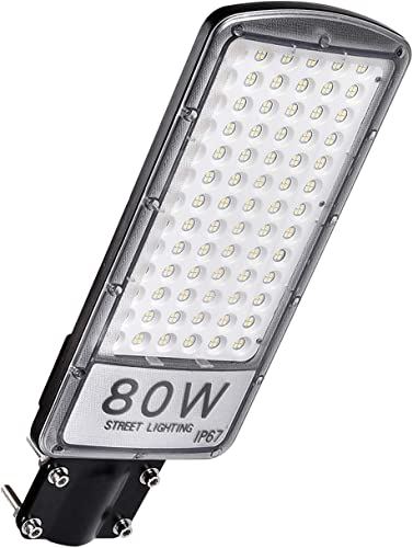 LED Street Light, Coolkun 80W 8000 Lumens Security Flood Light 6000K Cold White Waterproof and Dustproof IP67 for Outdoor Area Lighting not Solar lamp