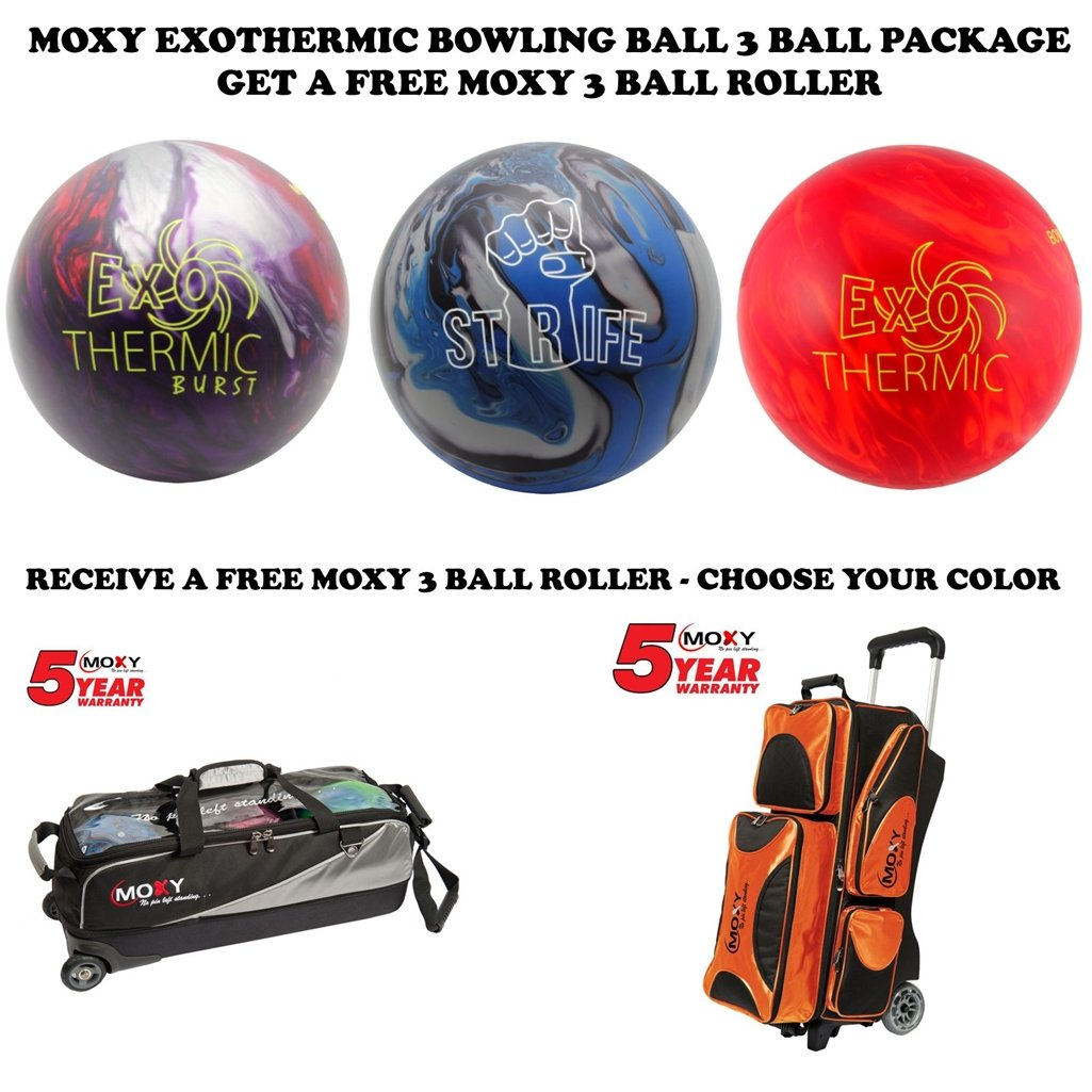 Moxyボーリングボールシリーズ3ボールpackage- exothermic-exothermic burst-strife B01M1MNMHJ  15lb Exothermic Burst-15lb Strife-14lb Exothermic