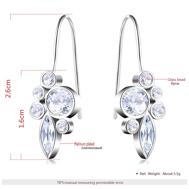Anazoz Jewelry 18K Gold Plated Women Stud Earrings Round Silver AP627