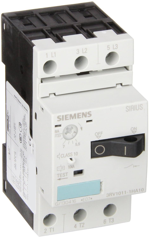 Siemens 3RV1011-1HA10 Motor Starter Protector 3RV101 Frame Size 65kA UL Short Circuit Breaking Capacity at 480V 3RV10111HA10 5.5-8 FLA Adjustment Range 104A Instantaneous Short Circuit Release Screw Connection