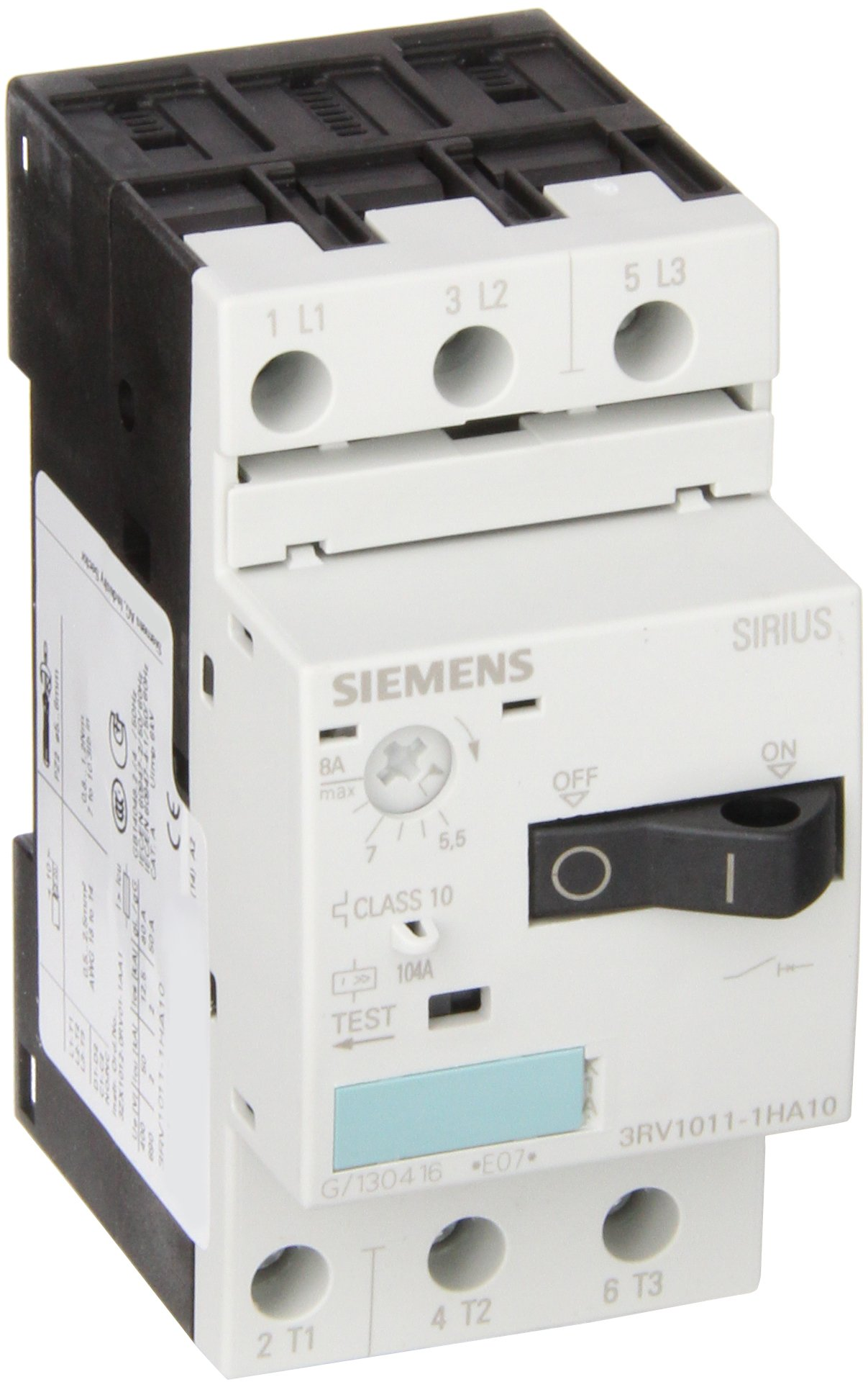 Siemens 3RV1011-1HA10 Motor Starter Protector, Screw Connection, 3RV101 Frame Size, 5.5-8 FLA Adjustment Range, 104A Instantaneous Short Circuit Release, 65kA UL Short Circuit Breaking Capacity at 480V