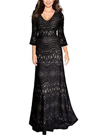 Miusol Womens Vintage V Neck Floral Lace Bell Sleeve Party Maxi Dress