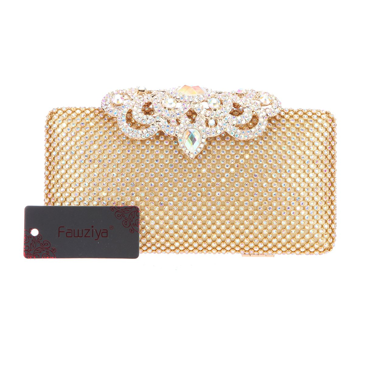 9800cc53992 Amazon.com: Fawziya Crown Crystal Clutch Hardshell Evening Clutches For  Wedding And Party-AB Gold: Shoes