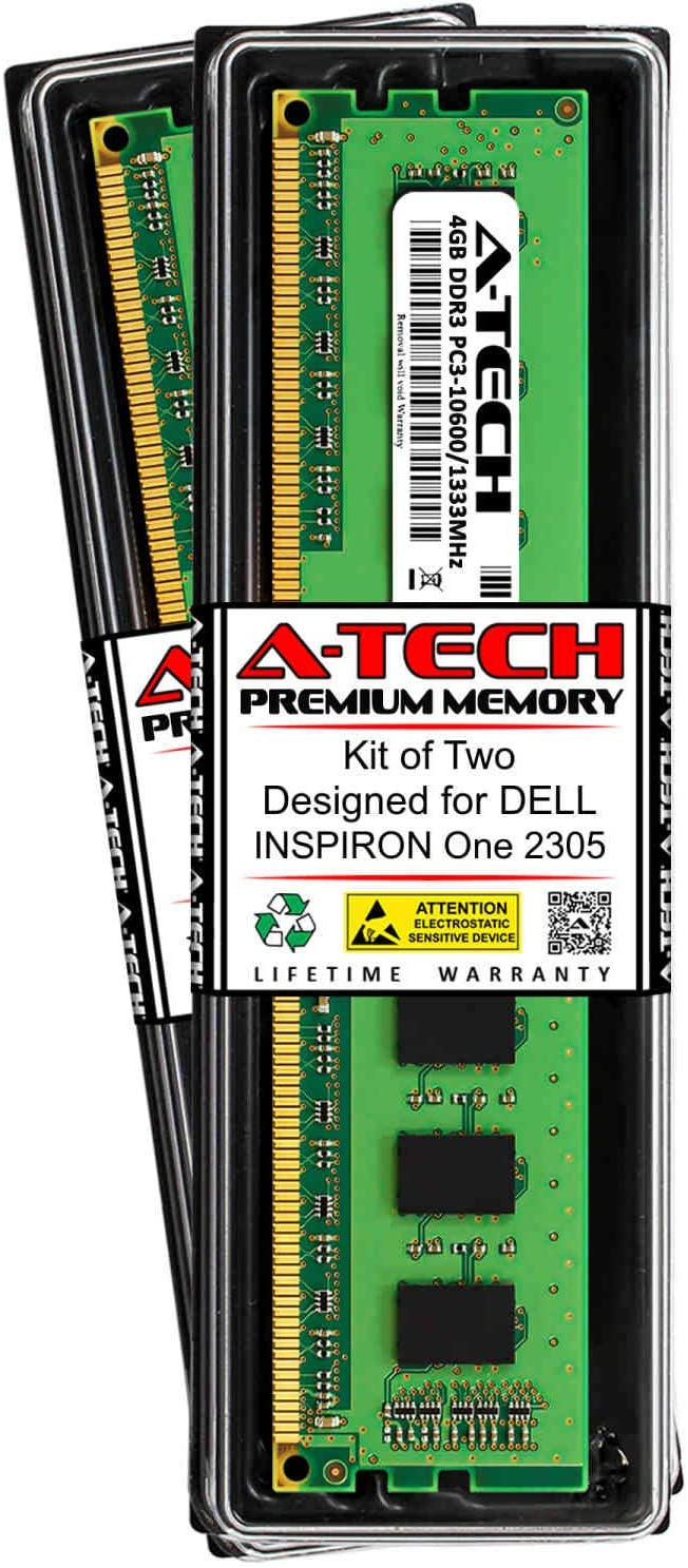 A-Tech 8GB (2 x 4GB) RAM for DELL INSPIRON ONE 2305 | DDR3 1333MHz DIMM PC3-10600 240-Pin Non-ECC UDIMM Memory Upgrade Kit