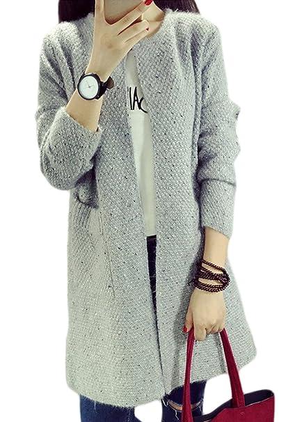 28e3165a29235 Le Donne Si Inverno Autunno Aperta Davanti A Cardigan Capi Di Abbigliamento  Classico  Grey One Size  Amazon.it  Abbigliamento