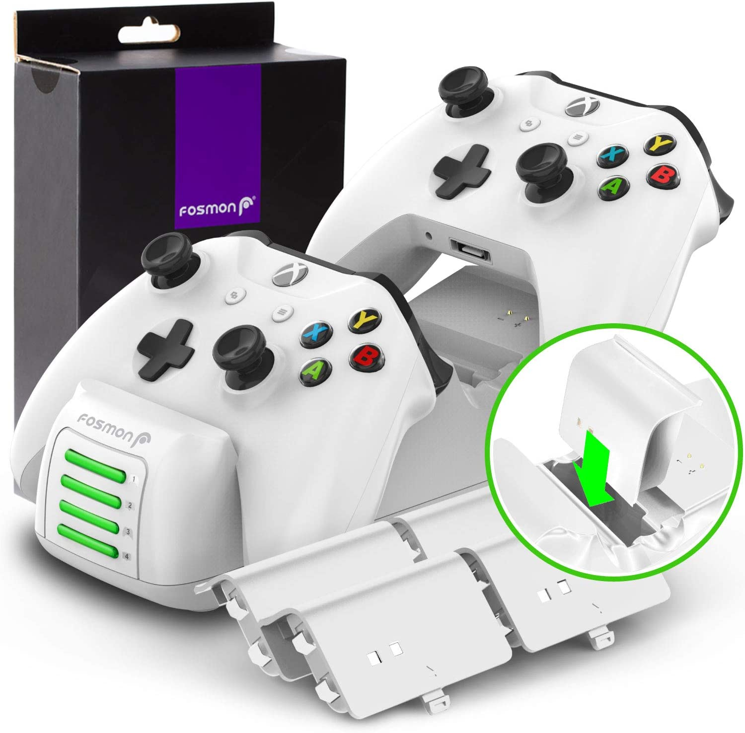 2 Batteries Slots Docking Charging Station with 4 Rechargeable Battery Packs Dual Dock Fosmon Quad PRO Controller Charger Compatible with Xbox One//One X//One S Elite Controllers Upgraded White