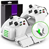 Fosmon Quad PRO Controller Charger Compatible with Xbox One/One X/One S Elite Controllers (Upgraded), Dual Dock + 2 Batteries