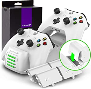 Fosmon Quad PRO Controller Charger Compatible with Xbox One/One X/One S Elite Controllers (Upgraded), Dual Dock + 2 Batteries Slots Docking Charging Station with 4 Rechargeable Battery Packs - White