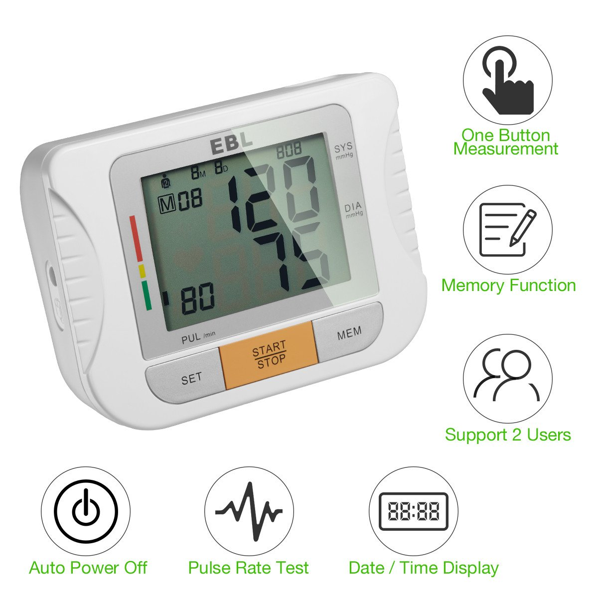 EBL Blood Pressure Monitor for Professionals and Home Users, Upper Arm Blood Pressure Monitor with Large LCD Display, Heartbeat Detector Memory Store Last 180 Readings
