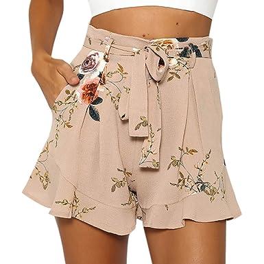 Mujer Pantalones Cortos de Verano de Gasa Ligero Falda Pantalón ...