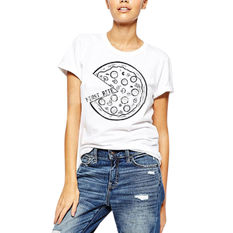 Misscat Women and Men Print T Shirt Love Summer Black White Pullover