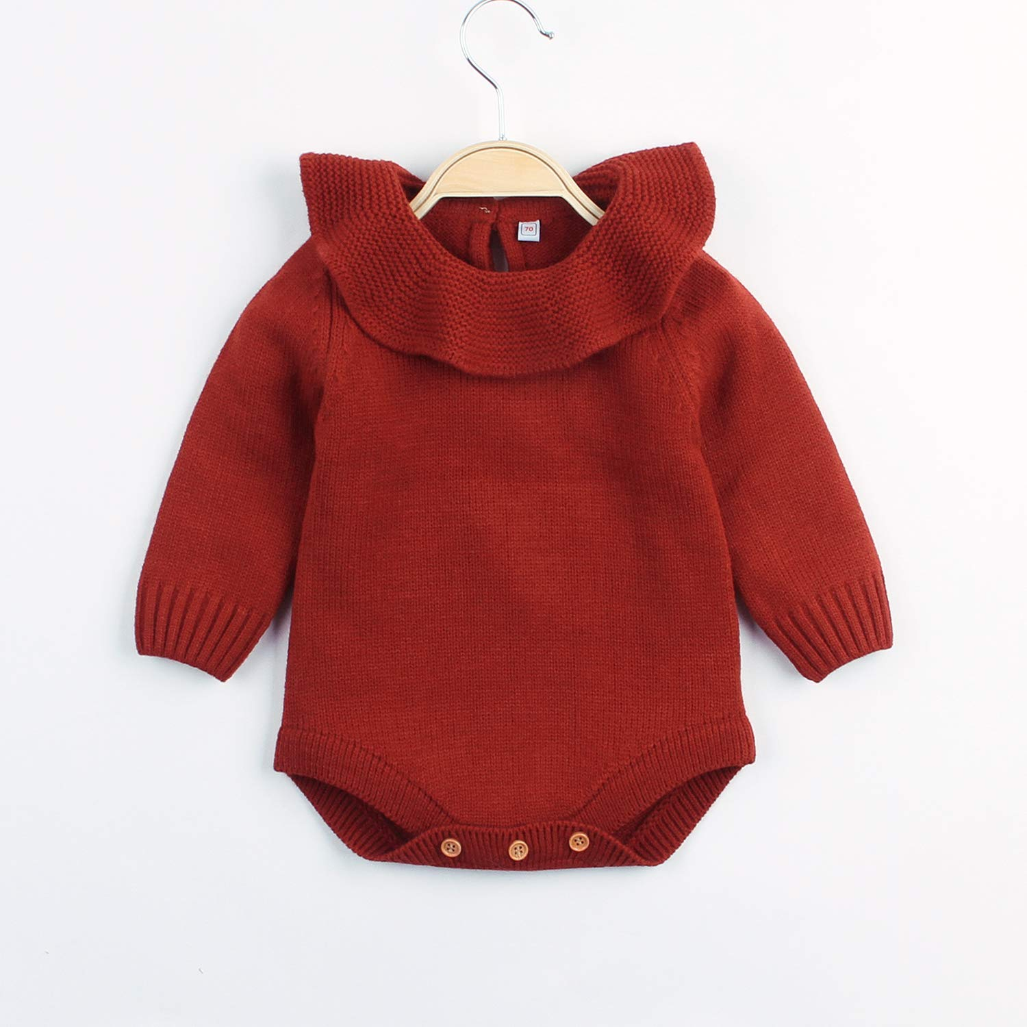 Funnykids Baby Girls Romper Knitted Ruffle Long Sleeve Jumpsuit Baby Girl Romper Autumn Winter Casual Clothing