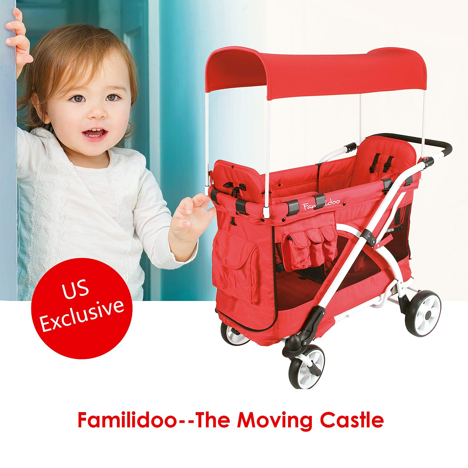 Familidoo Multi-Purpose 6 in 1 Large Twin Size Toddler Baby Folding Stroller Chariot Wagon, Red by FAMILIDOO (Image #2)
