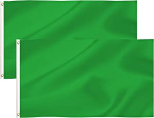 2 Pack 3x5 Foot Pure Solid Green DIY Flag,Plain Green Flags Polyester with Brass Grommets,Bright Colors and UV Fade Resistant,DIY Decoration